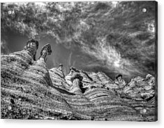Acrylic Print featuring the photograph Tent Rocks No. 1 Bw by Dave Garner