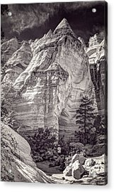 Acrylic Print featuring the photograph Tent Rocks No. 2 Bw by Dave Garner