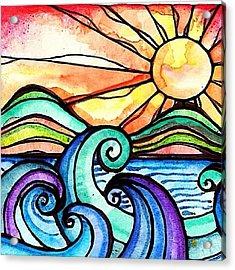 Tequila Sunrise #aceo #artcard #art Acrylic Print by Robin Mead