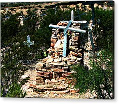 Acrylic Print featuring the photograph Terlingua Cross by Linda Cox