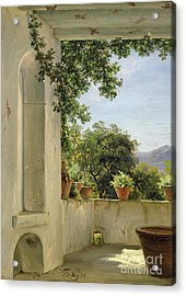 Terrace In Sorrento Acrylic Print by Thomas Fearnley