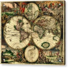 Terrarum Orbis Old World Map  Acrylic Print by Inspired Nature Photography Fine Art Photography