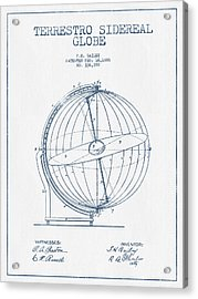 Terrestro Sidereal Globe Patent Drawing From 1886- Blue Ink Acrylic Print