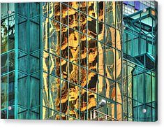 Terrific Warsaw Under Construction Glass Reflections Acrylic Print