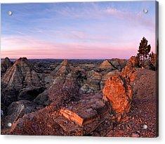 Terry Badlands Sunrise Acrylic Print by Leland D Howard