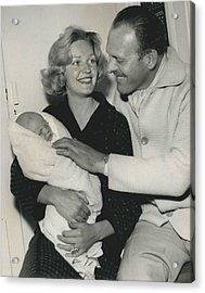 Terry Thomas Flies Here To See His Baby Acrylic Print by Retro Images Archive