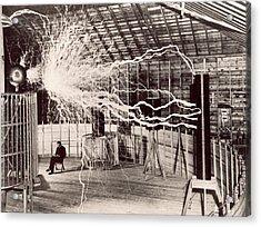 Tesla Coil Experiment Acrylic Print by Nikola Tesla Museum/science Photo Library