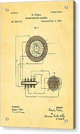 Tesla Electric Dynamo Patent Art 1888 Acrylic Print by Ian Monk