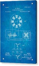 Tesla Electric Dynamo Patent Art 2 1888 Blueprint Acrylic Print by Ian Monk