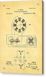 Tesla Electric Dynamo Patent Art 2 1888 Acrylic Print by Ian Monk