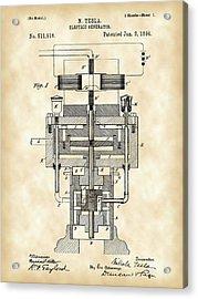 Tesla Electric Generator Patent 1894 - Vintage Acrylic Print by Stephen Younts