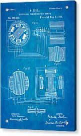 Tesla Electrical Transmission Of Power Patent Art 3 1888 Blueprint Acrylic Print
