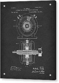 Tesla Generator 1891 Patent Art  Black Acrylic Print