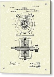 Tesla Generator 1891 Patent Art Acrylic Print by Prior Art Design
