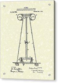 Tesla Transmitter 1914 Patent Art Acrylic Print