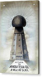 Tesla's Wardenclyffe Tower Laboratory Acrylic Print by Nikola Tesla Museum/science Photo Library