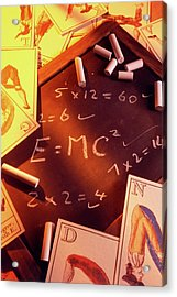 Test Answers Including E=mc2 On A Blackboard Acrylic Print by Tony Craddock/science Photo Library