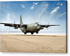 Test Landing By A C-130 Mk3 Hercules Transport Aircraft Acrylic Print