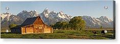 Teton Barn With Bison Acrylic Print