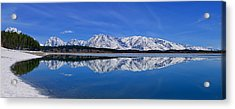 Teton End Of Winter Reflections Acrylic Print
