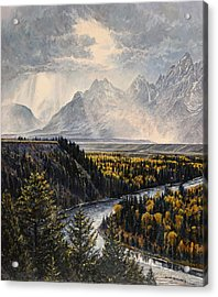 Acrylic Print featuring the painting Teton Illumination by Steve Spencer