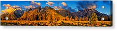 Teton Mountain View Panorama Acrylic Print by Greg Norrell
