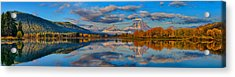 Teton Panoramic Reflections At Oxbow Bend Acrylic Print