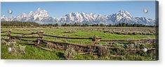 Teton Range Panorama Acrylic Print by Aaron Spong