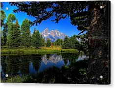 Acrylic Print featuring the photograph Teton Reflection by Yeates Photography