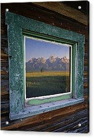 Teton Window Reflection Acrylic Print by Mike Norton