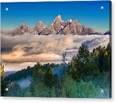 Tetons Above The Clouds Acrylic Print by Jerry Patterson