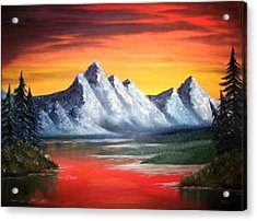 Acrylic Print featuring the painting Tetons Sunset by The GYPSY And DEBBIE