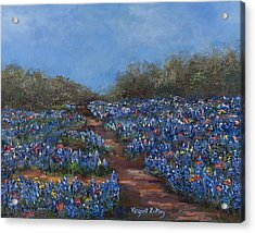 Texas Blue Bonnets Hill Country Trail Acrylic Print by Nancy LaMay