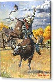 Texas Bull Rider Acrylic Print by Jeff Brimley