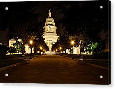 Acrylic Print featuring the photograph Texas Capitol At Night by Dave Files