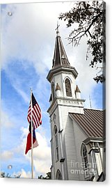 Texas Church And Flags Acrylic Print by Pattie Calfy
