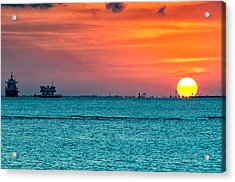Sunset On The Houston Ship Channel Acrylic Print