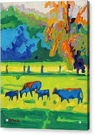 Texas Cows At Sunset Oil Painting Bertram Poole Apr14 Acrylic Print by Thomas Bertram POOLE