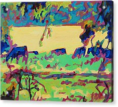 Texas Cows Grazing Landscape By Bertram Poole Acrylic Print by Thomas Bertram POOLE