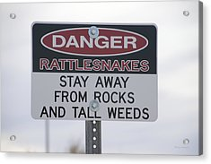Texas Danger Rattle Snakes Signage Acrylic Print by Thomas Woolworth