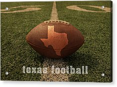 Texas Football Art - Leather State Emblem On Marked Field Acrylic Print