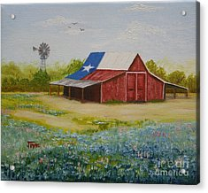 Acrylic Print featuring the painting Texas Hill Country Barn by Jimmie Bartlett