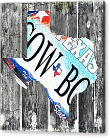 Texas License Plate Map Acrylic Print by Bill Cannon