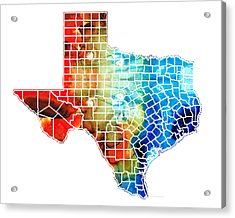 Texas Map - Counties By Sharon Cummings Acrylic Print by Sharon Cummings