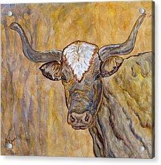 Acrylic Print featuring the painting Texas O Texas Longhorn by Ella Kaye Dickey