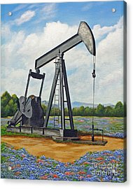 Acrylic Print featuring the painting Texas Oil Well by Jimmie Bartlett