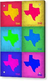 Texas Pop Art Map 1 Acrylic Print by Naxart Studio
