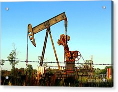 Texas Pumping Unit Acrylic Print by Kathy  White