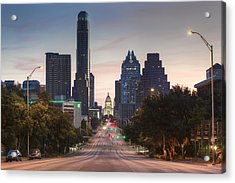 The Austin Skyline And Texas State Capitol From Congress 1 Acrylic Print by Rob Greebon