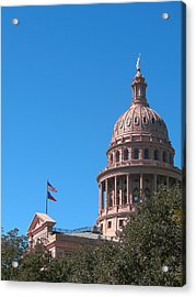 Texas State Capitol With Pediment Acrylic Print by Connie Fox